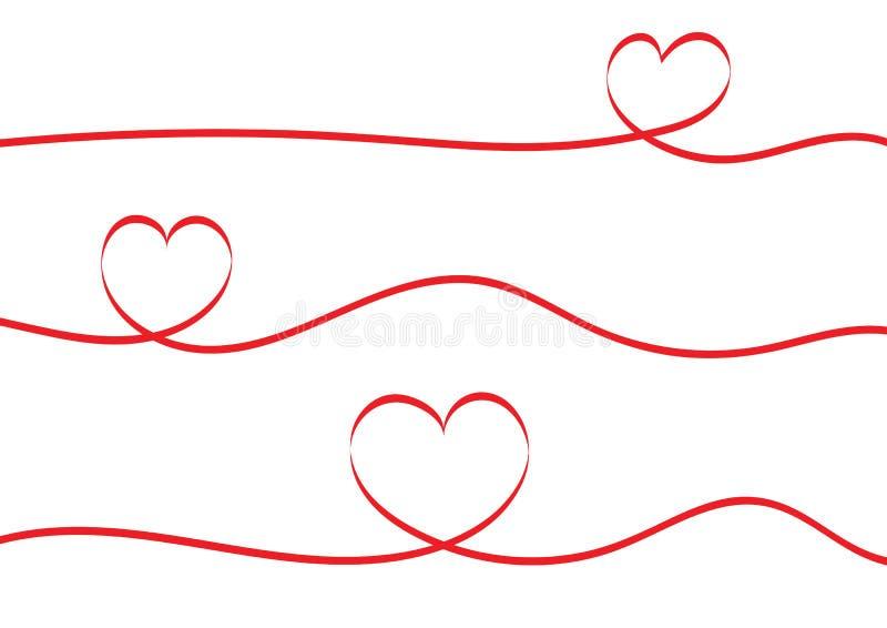 在白色背景隔绝的红色丝带心脏 库存例证