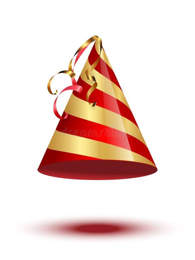 在白色背景隔绝的红色和金黄党藤茎盖帽 传染媒介假日元素 向量例证