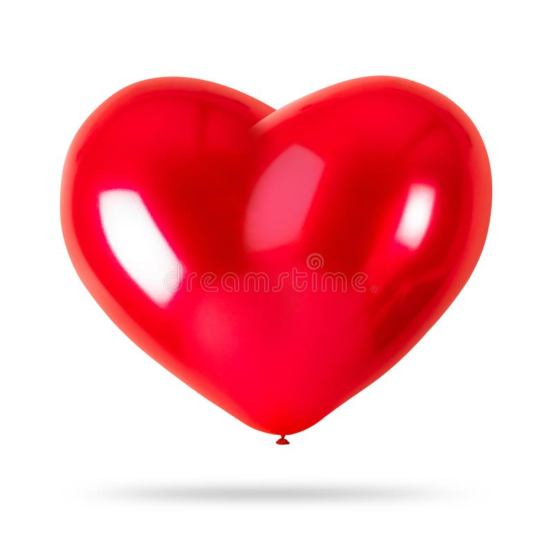 在白色背景隔绝的红色心脏气球 党装饰 免版税库存图片