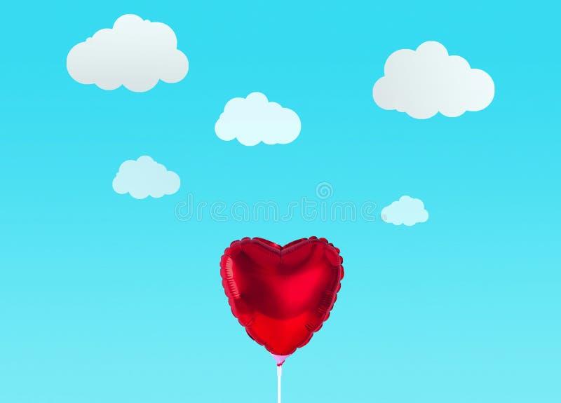 在白色背景隔绝的红色心脏气球 图库摄影