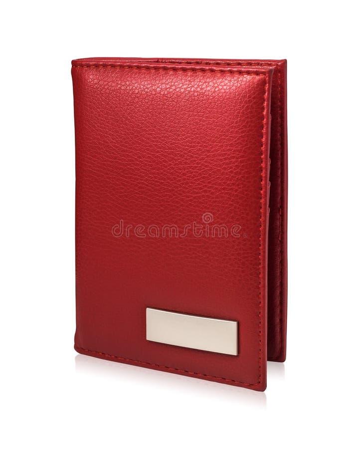 在白色背景隔绝的红色护照钱包 皮革钱包模板您的设计的 库存例证