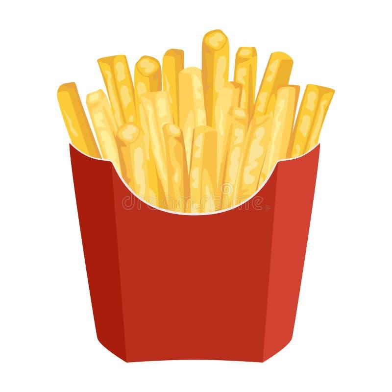 在白色背景隔绝的红色纸包装的袋子的薯条 库存例证
