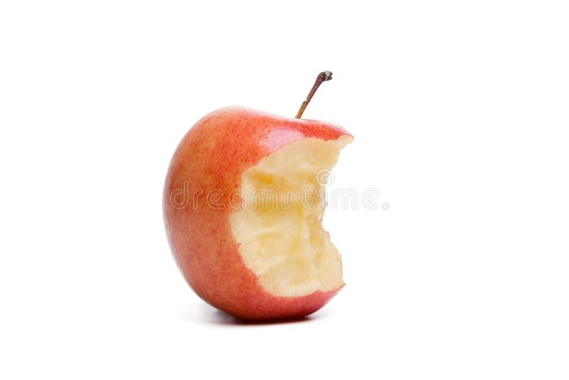在白色背景隔绝的红色苹果核心 免版税库存照片