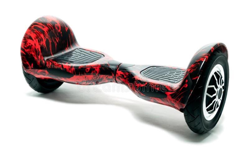 在白色背景隔绝的红色hoverboard 自平衡的单轮车 运动的普遍的娱乐设备 免版税库存照片