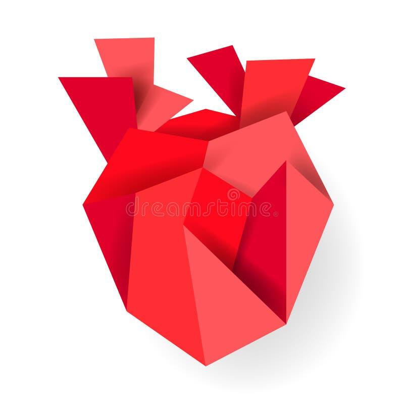 在白色背景隔绝的红色origami纸心脏 背景蓝色框概念概念性日礼品重点查出珠宝信函生活纤管红色仍然被塑造的华伦泰 爱,感觉,柔软设计 库存例证
