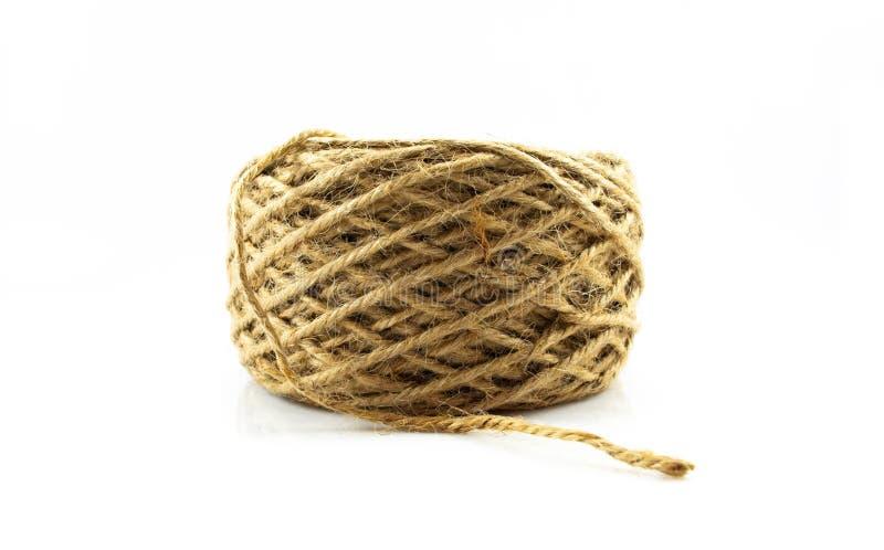 在白色背景隔绝的纤维粗硬纤维绳索 免版税库存图片