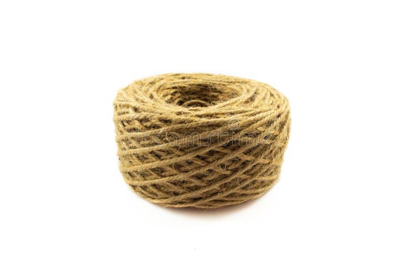 在白色背景隔绝的纤维粗硬纤维绳索 库存照片