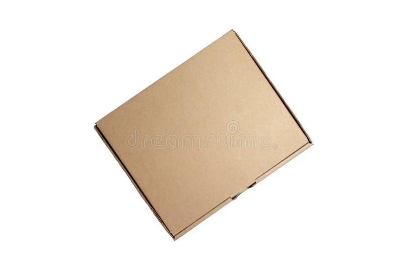在白色背景隔绝的纸板箱 交付,移动,包裹和礼物概念 免版税库存照片