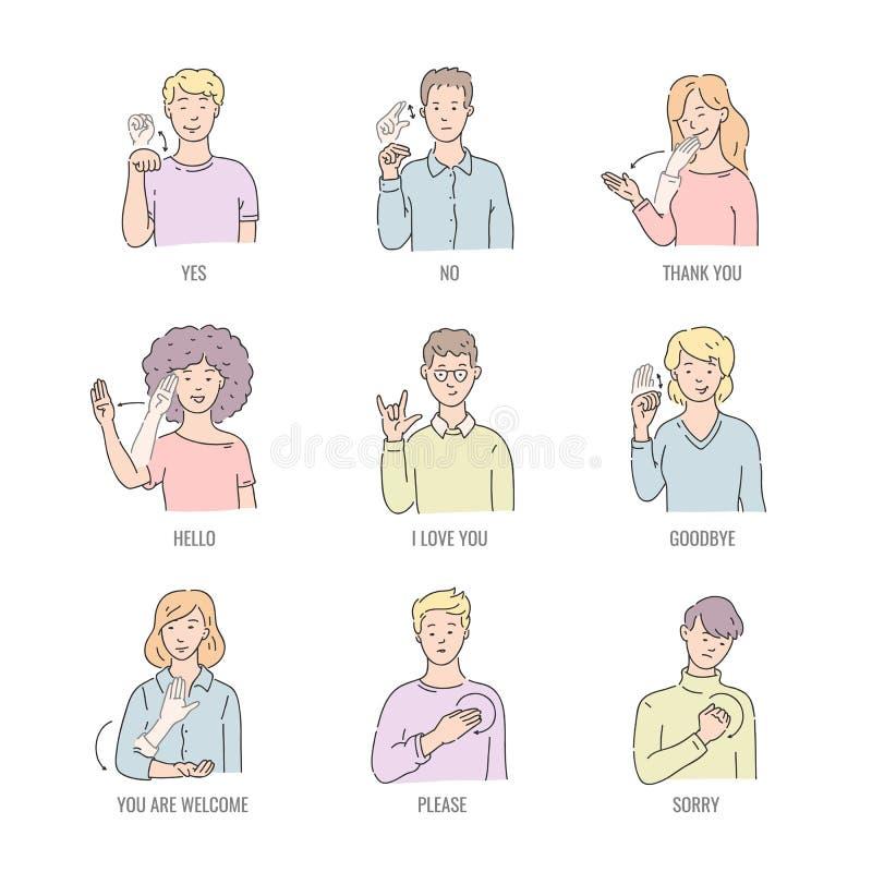 在白色背景隔绝的线艺术的聋英国基本的词 向量例证