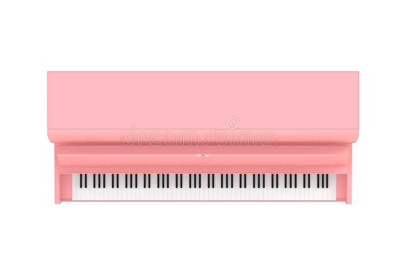 在白色背景隔绝的经典乐器桃红色钢琴顶视图,键盘仪器 库存例证