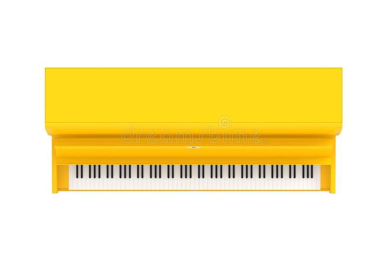 在白色背景隔绝的经典乐器黄色钢琴顶视图,键盘仪器 向量例证