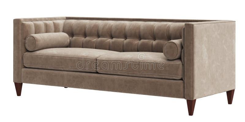 在白色背景隔绝的经典装缨球沙发 皇族释放例证