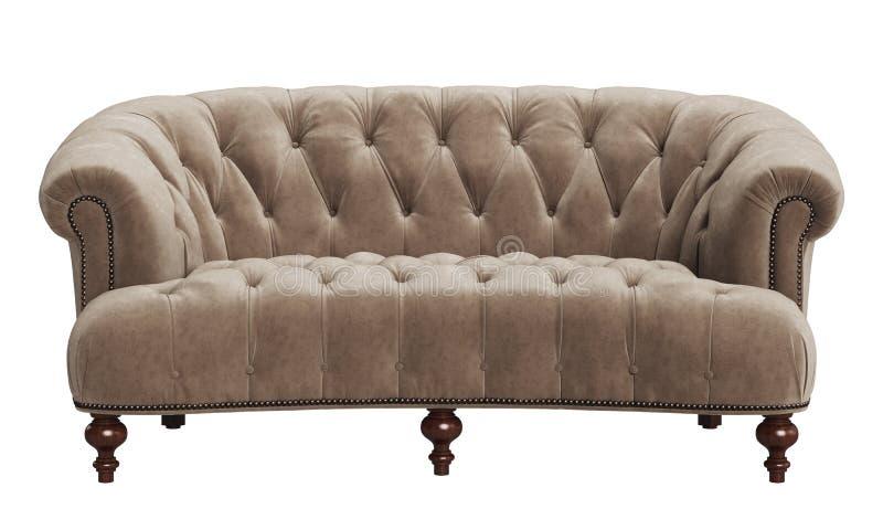在白色背景隔绝的经典装缨球沙发 库存例证