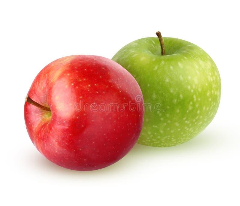 在白色背景隔绝的绿色和红色苹果 免版税库存图片