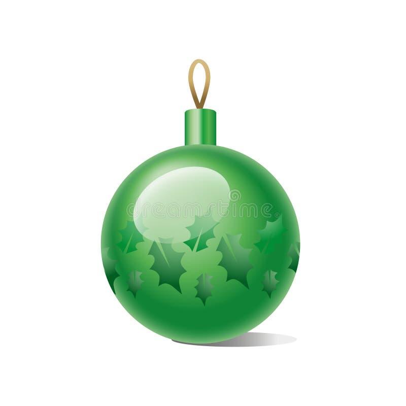 在白色背景隔绝的绿色圣诞节球 也corel凹道例证向量 库存例证