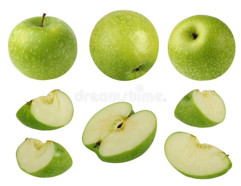 在白色背景隔绝的绿色苹果的汇集 库存照片