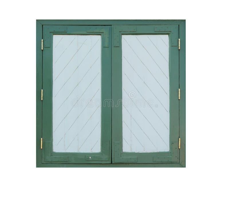 在白色背景隔绝的绿色葡萄酒窗口 图库摄影