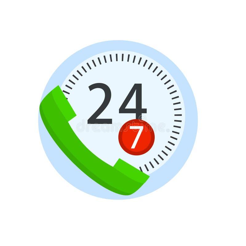 在白色背景隔绝的网上电话中心手机支持 传染媒介平的象 向量例证