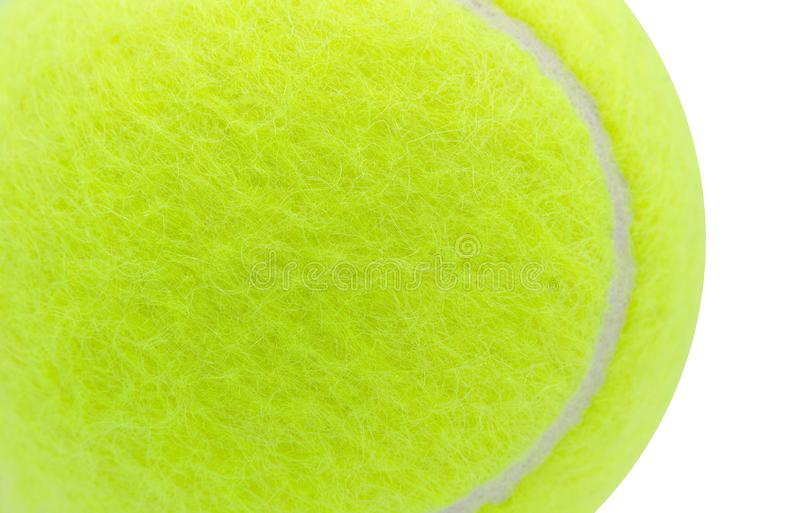 在白色背景隔绝的网球,关闭,纹理,拷贝空间 库存照片