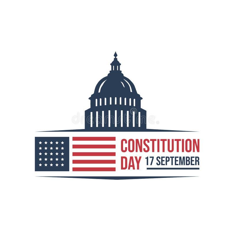在白色背景隔绝的美国宪法天徽章传染媒介商标象 库存例证