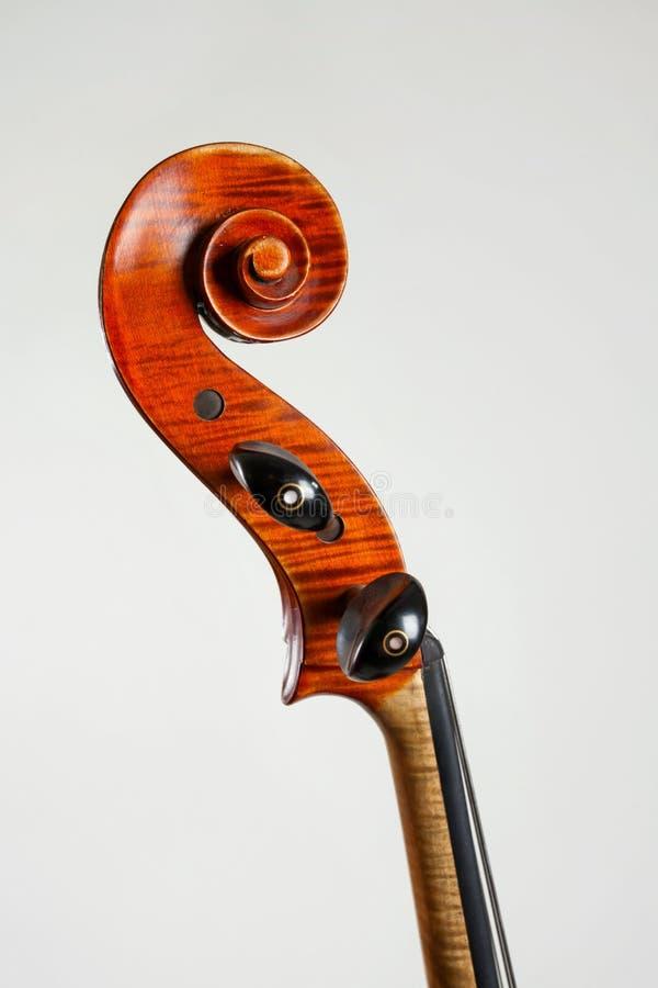 在白色背景隔绝的老低音提琴头侧视图  库存照片