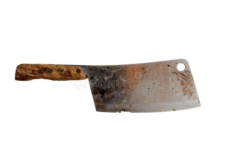 在白色背景隔绝的老刀子铁锈 库存照片