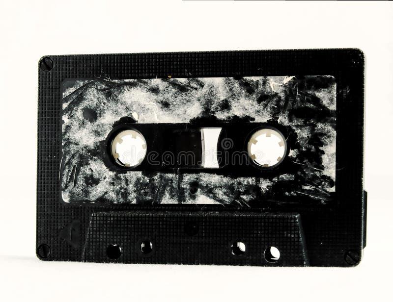 在白色背景隔绝的老卡型盒式录音机,数字照片图片作为背景 库存图片