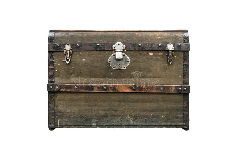 在白色背景隔绝的老宝物箱 葡萄酒葡萄酒深绿箱子 免版税库存图片