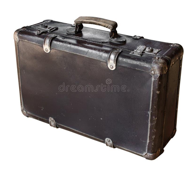 在白色背景隔绝的老棕色手提箱 减速火箭的样式 复制空间 免版税库存照片