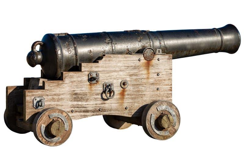 在白色背景隔绝的老海军大炮 免版税库存图片