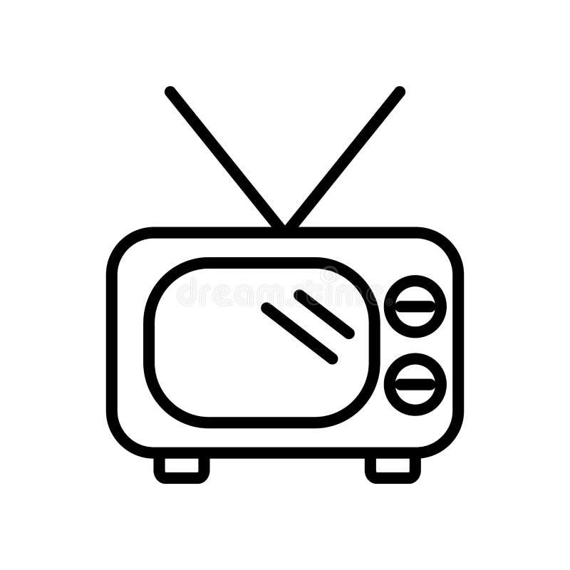 在白色背景隔绝的老电视象传染媒介,老电视标志,l 库存例证