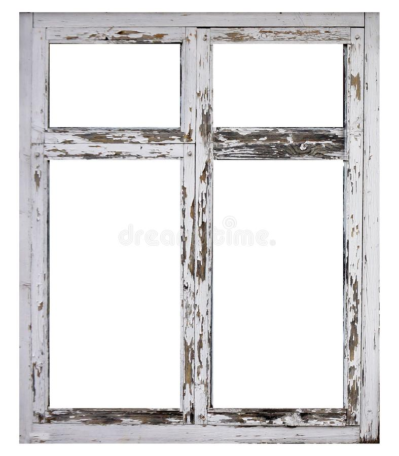 在白色背景隔绝的老白色木窗架 免版税图库摄影