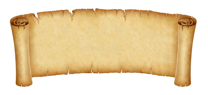在白色背景隔绝的老纸卷横幅 库存例证