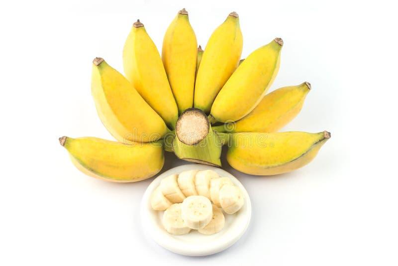 在白色背景隔绝的耕种的香蕉 成熟耕种的香蕉 免版税库存照片