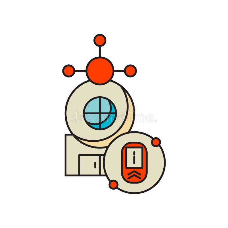 在白色背景隔绝的聪明的家庭象传染媒介,聪明的家庭标志,技术标志 皇族释放例证