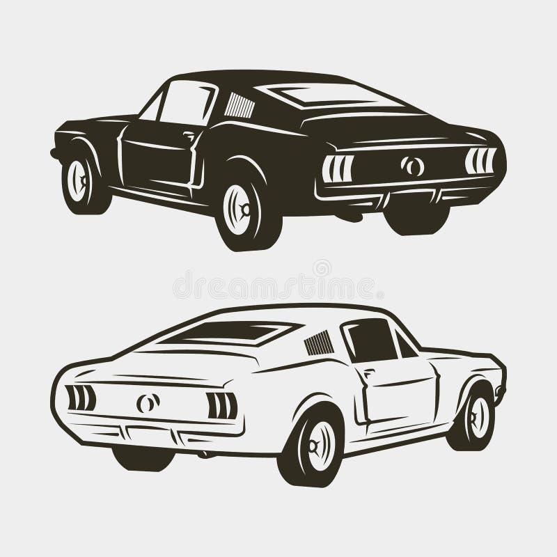在白色背景隔绝的肌肉汽车 也corel凹道例证向量 皇族释放例证