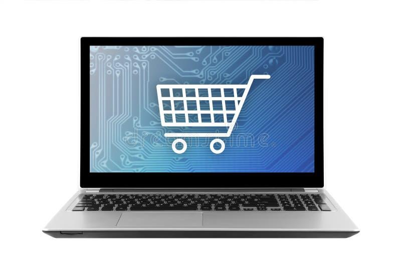 在白色背景隔绝的膝上型计算机的购物车图表 库存照片