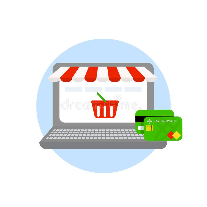 在白色背景隔绝的膝上型计算机网上购物网上商店信用和付款卡片 在线购物概念 皇族释放例证