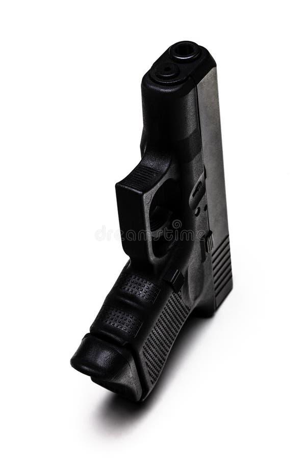 在白色背景隔绝的自动9mm手枪 免版税库存图片