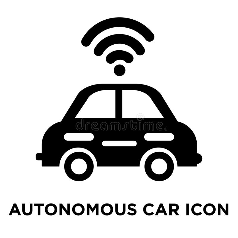 在白色背景隔绝的自治汽车象传染媒介,商标co 向量例证