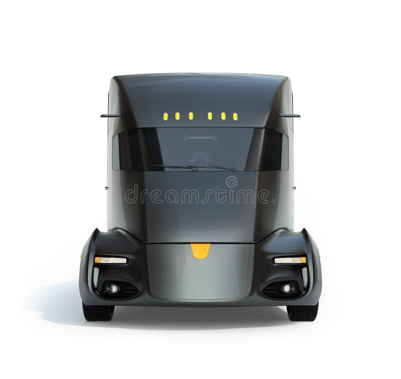 在白色背景隔绝的自驾驶的电半卡车正面图  免版税库存照片