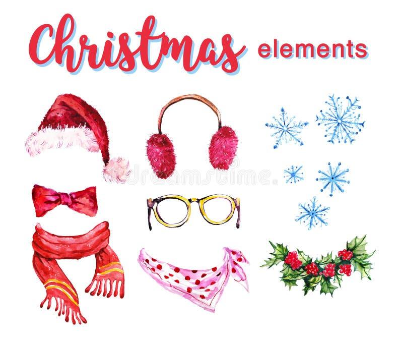 在白色背景隔绝的艺术性的套手拉的水彩冬天对象-圣诞老人帽子,毛茸的耳机,霍莉花圈, sca 库存例证