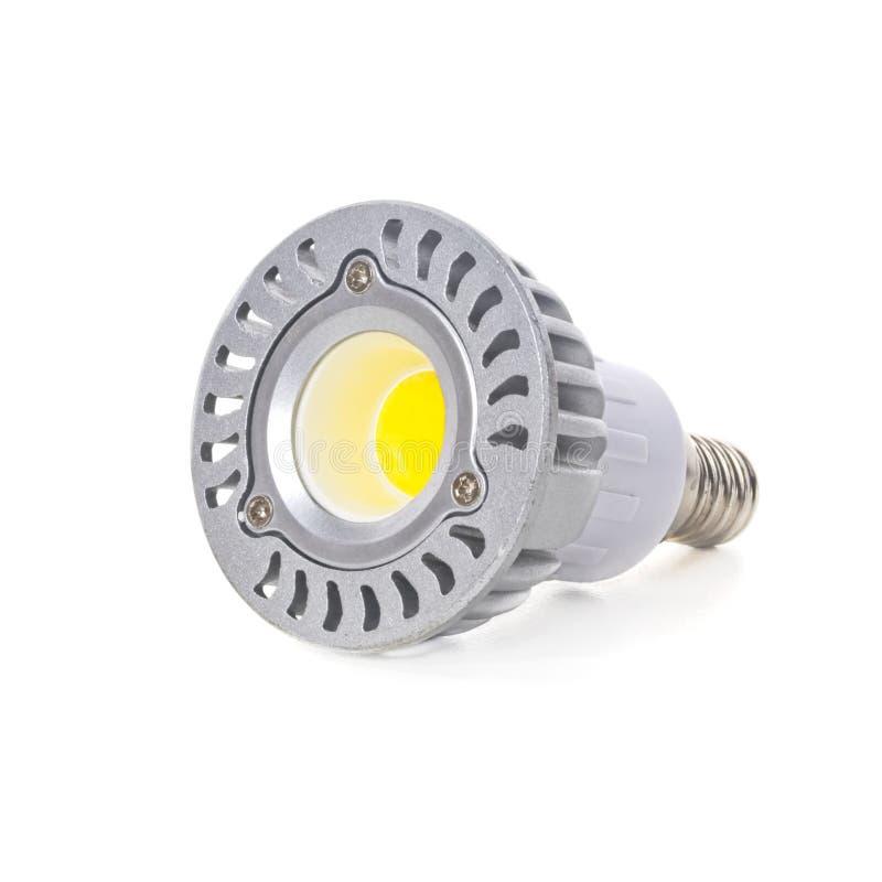在白色背景隔绝的节能LED电灯泡 库存图片