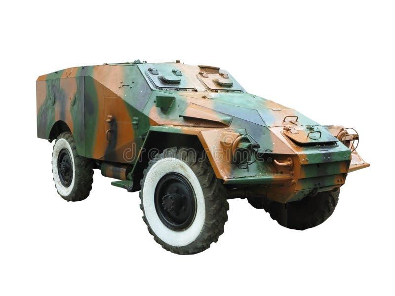 在白色背景隔绝的苏联俄国老军用防弹车 免版税库存图片