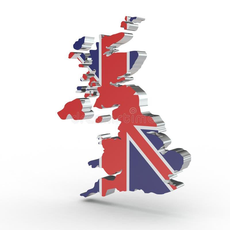 在白色背景隔绝的英国的欧洲3D地图 库存例证