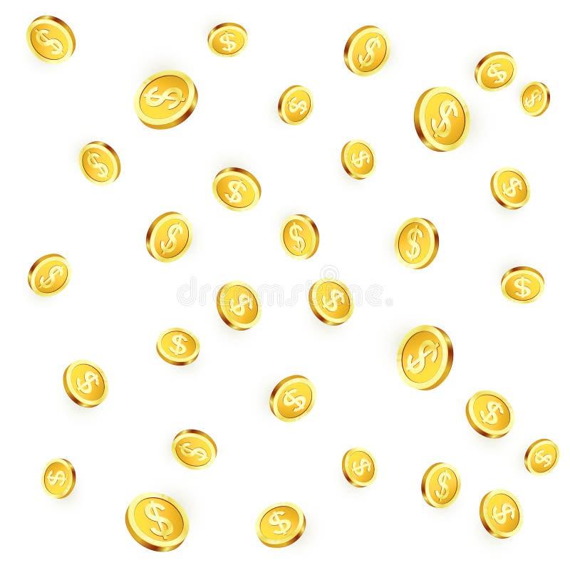 在白色背景隔绝的落的金黄硬币 发光的金属美元雨 赌博娱乐场困境胜利 向量 库存例证
