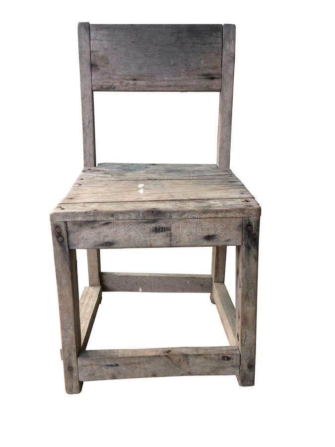 在白色背景隔绝的葡萄酒老木椅子 免版税库存图片
