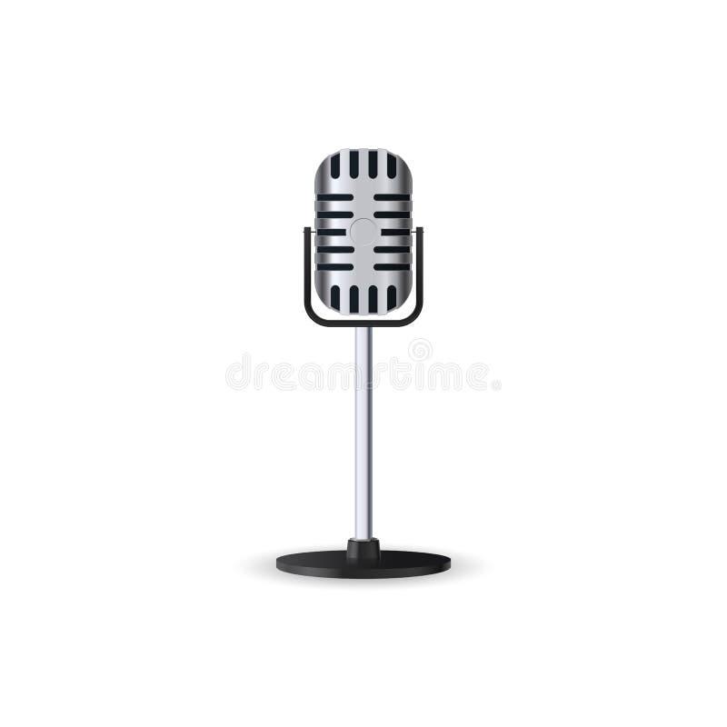 在白色背景隔绝的葡萄酒银色立体声演播室话筒 在姿态的减速火箭的金属mic 库存例证