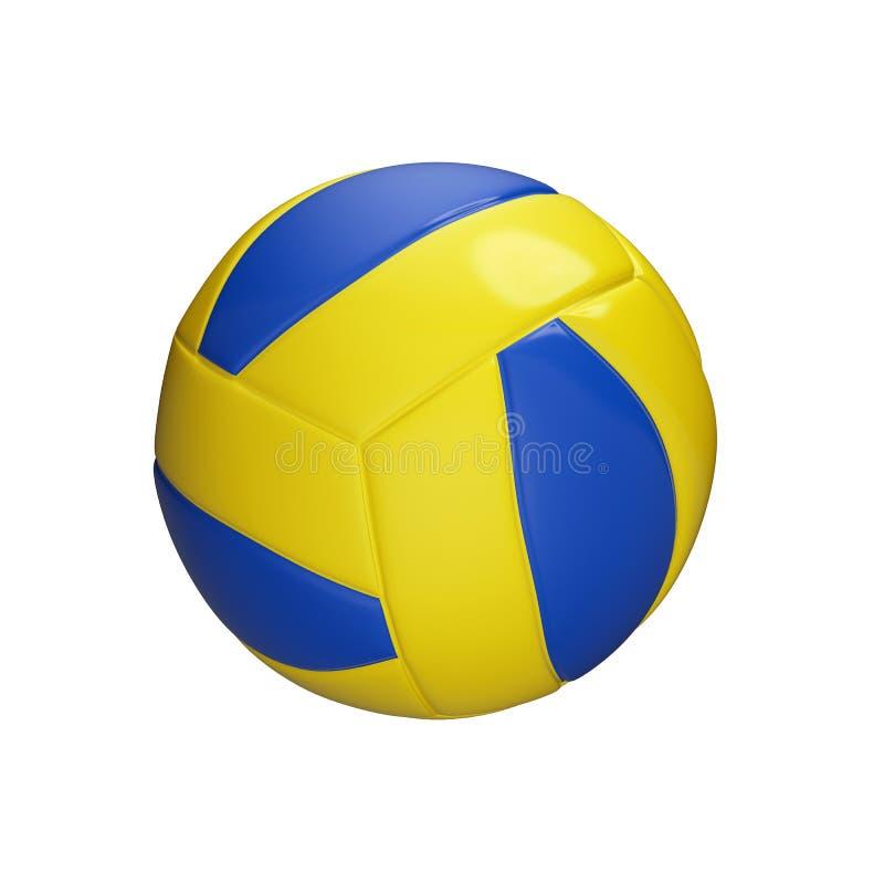在白色背景隔绝的蓝色和黄色篮球球,3d回报 向量例证