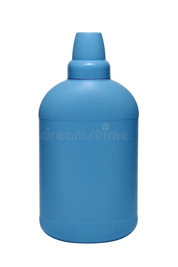 在白色背景隔绝的蓝色塑料瓶的软化剂调节剂 有液体洗涤剂的,洗涤剂, bl瓶 免版税库存照片